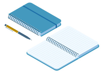 Flat isometric illustration of closed and opened notebook. Office and school vector concept: paper notepad with a pen and ring binder. Business and education workplace paperwork isolated elements.