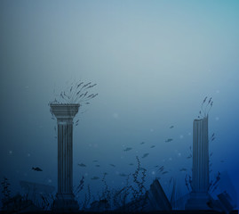 underwater landscape with ancient ruins of columns, fishes, alga and bubbles, secret of Atlantis,
