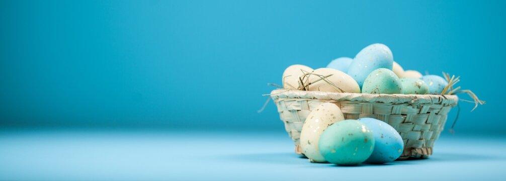 Easter eggs on blue background