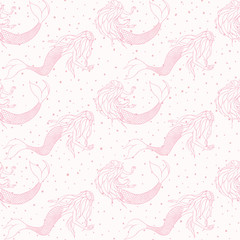 Beautiful mermaids pink contours vector seamless pattern. Underwater mythical creatures on the white polka dot background. Girlish backdrop.