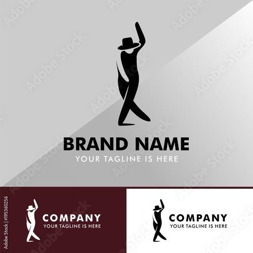 Modern Dancing Man With Hat Symbol Vector Icon Logo Template Stock