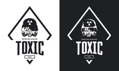 Rider in helmet and gas mask black and white isolated vector logo.