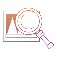 magnifying glass with Picture icon over white background, colorful design.  vector illustration