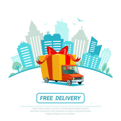 Free delivery concept. Delivery truck with gift box, parcel. Delivery service Shipping by car or truck. Flat style design truck on Urban landscape. Blue city silhouette background.