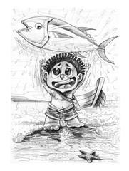 Fisherman with Tuna fish Omeca 3 pencil stroke drawn