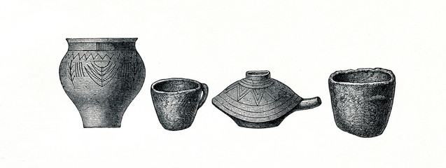 Clay pottery from prehistoric stilt-house settlement (from Meyers Lexikon, 1896, 13/754/755)