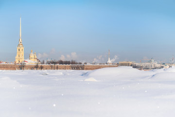 Winter panorama of Peter and Paul fortress in Saint Petersburg, Russia