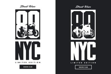 Vintage bikers club black and white isolated vector t-shirt logo. Premium quality motorcycle logotype tee-shirt emblem illustration.