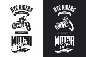 Vintage bikers club black and white isolated vector t-shirt logo.