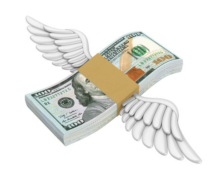 Money Wings Flying Isolated