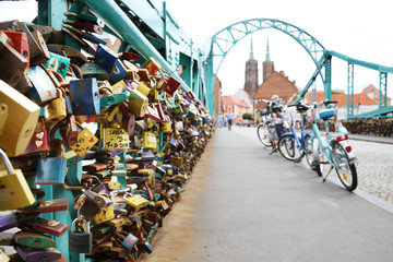 locks of love on the bridge in Wroclaw