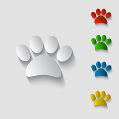 Cat or Dog Animal Paw Paper Style with Shadow Icon