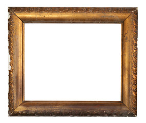 An old wooden frame isolated on a white background