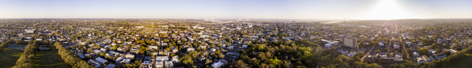 360 degree aerial seamless panorama of Savannah, Georgia.