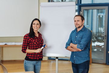 Two business partners doing a presentation
