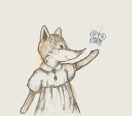 small fox tries to catch butterfly, drawing like pencil scratch with watercolor blots, retro picture,