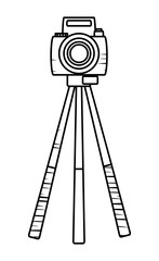sketch of camera on the tripod over white background, vector illustration
