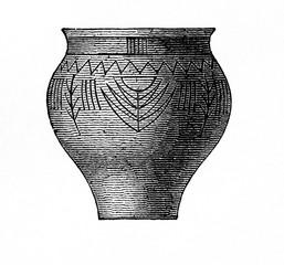 Clay pot from prehistoric stilt-house settlement (from Meyers Lexikon, 1896, 13/754/755)