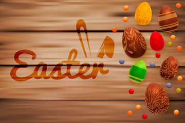 Easter composition with chocolate eggs on wooden background, space for text. 3d render realistic vector illustration.