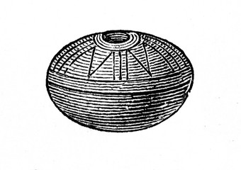 Whorl or weight, that is added to spindle, from prehistoric stilt-house settlement (from Meyers Lexikon, 1896, 13/754/755)