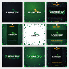 Set of Saint Patricks Day cards with clover. Vector illustration