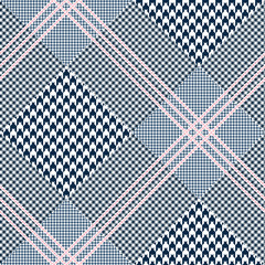 Seamless glen plaid pattern in navy blue and white with triple pink overcheck. Diagonal Prince of Wales check texture.