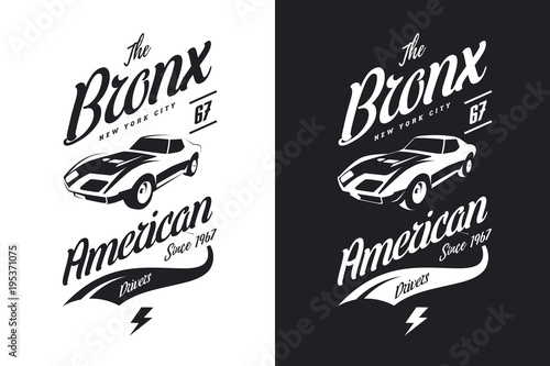 cb13e1d4 American muscle car black and white isolated vector tee-shirt logo. Premium  quality sport vehicle logotype t-shirt emblem illustration.