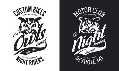 Vintage bikers club t-shirt black and white isolated vector logo.