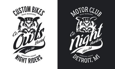 Vintage bikers club t-shirt black and white isolated vector logo. Premium quality owl bird night hunter logotype tee-shirt emblem illustration.