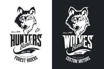 Vintage wolf custom motors club t-shirt black and white vector logo.
