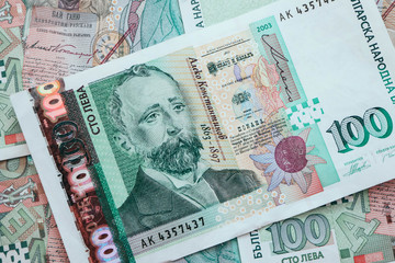 Photo depicts the Bulgarian currency banknote, 100 leva, BGN, close up. Depicts a portraiture of Aleko Konstantinov, famous Bulgarian poet.