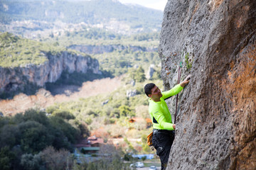 the rock-climber on a route