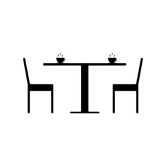 A table in a cafe icon logo