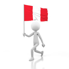 Small Person Walking with Peru Flag in a Hand.