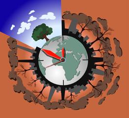 Концепция загрязнения экологии на планете земля, векторная иллюстрация