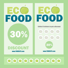 eco flyer, Brochure, Promotions coupon or banner design with stickers discount