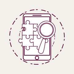 Smartphone and magnifying glass and puzzle pieces over white background vector illustration