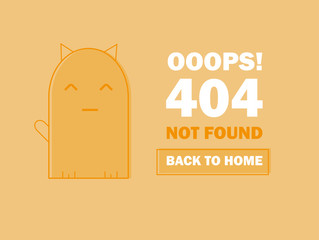 404 error page with cute cat and Warning message Oops Page Not Found