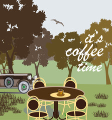 Vector poster with   spring landscape evening   . Typography card, image with lettering.  It's coffee time.