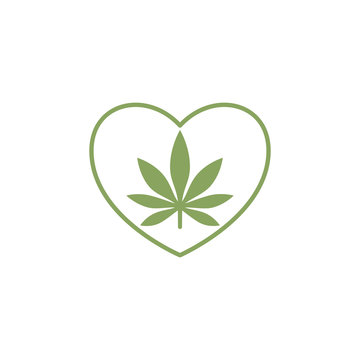 Heart symbol with cannabis leaf inside. Marijuana Heart. Isolated vector illustration