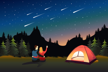 Couple Watching Meteor Shower While Camping