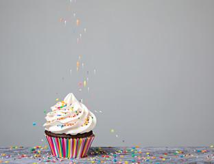 Decorating Cupcake with Sprinkles