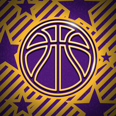 Modern gold and purple basketball background ball pattern vector sport illustration