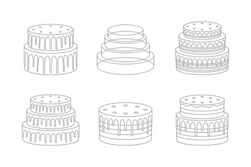 Cakes set, thin line style. isolated on white background