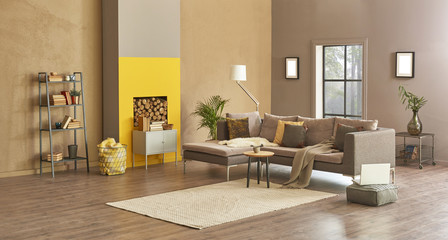 new style living room apartment and luxury room concept. Grey and brown details furniture with fireplace. Home decor.