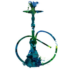2d hand drawn illustration for lounge bar. Indigo green blue watercolor splash blot in shape of oriental hookah isolated on white background.