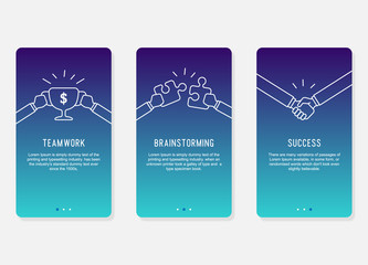 Onboarding screens design in business success concept. Modern Minimal and simplified vector illustration, Template for mobile apps.