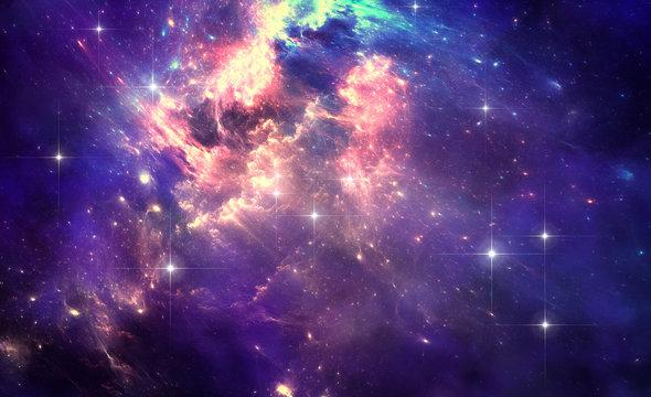 Deep space nebula with stars