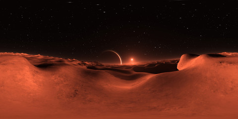 360 Panorama of Mars-like Exoplanet sunset, environment map. Equirectangular projection, spherical panorama. 3d illustration