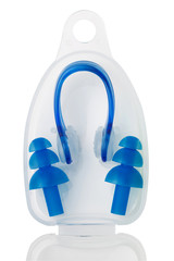 set in box, earplugs for swimming and clamp on nose on white background